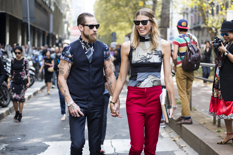 Milan FWSS2014, outside Dolce & Gabbana, Veronika Heilbrunner and Justin O'Shea